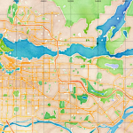 Watercolor map of Greater Vancouver rendered by Stamen Designs using OpenStreetMap data.