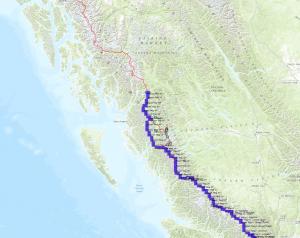 The entire Traverse the Coast route