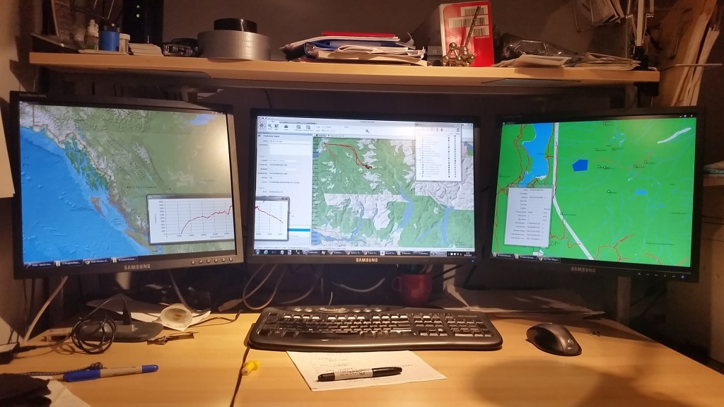 TrueNorth showing three maps on three monitors.